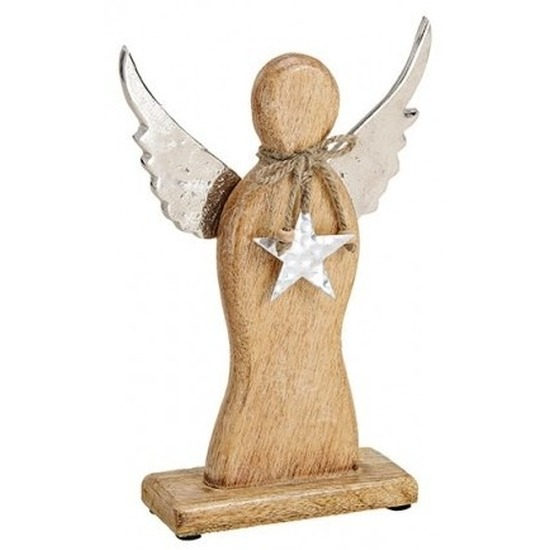 Houten decoratie engel 27 cm