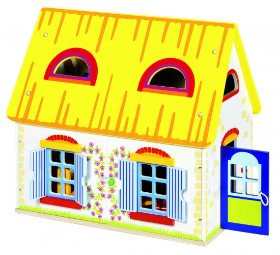 Houten poppenhuis 39,5 x 24,5 x 35 cm