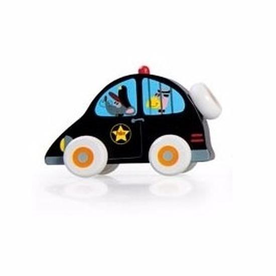 Houten speelgoed politieauto 10 cm