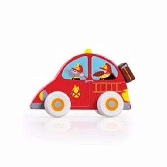 Houten speelgoed rode brandweerauto 10 cm