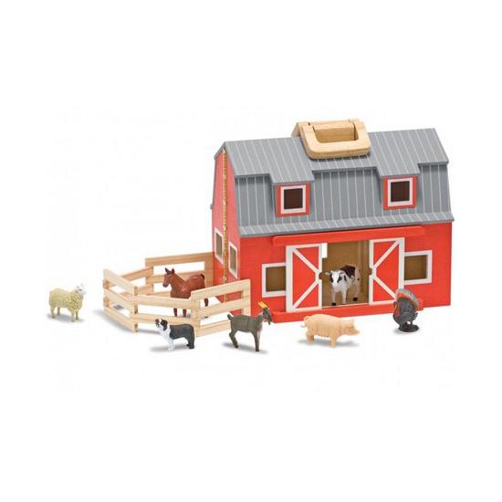 Houten speelgoed stal inklapbaar met dieren
