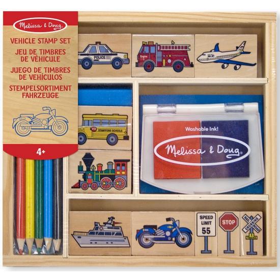 Houten speelgoed stempelset voertuigen