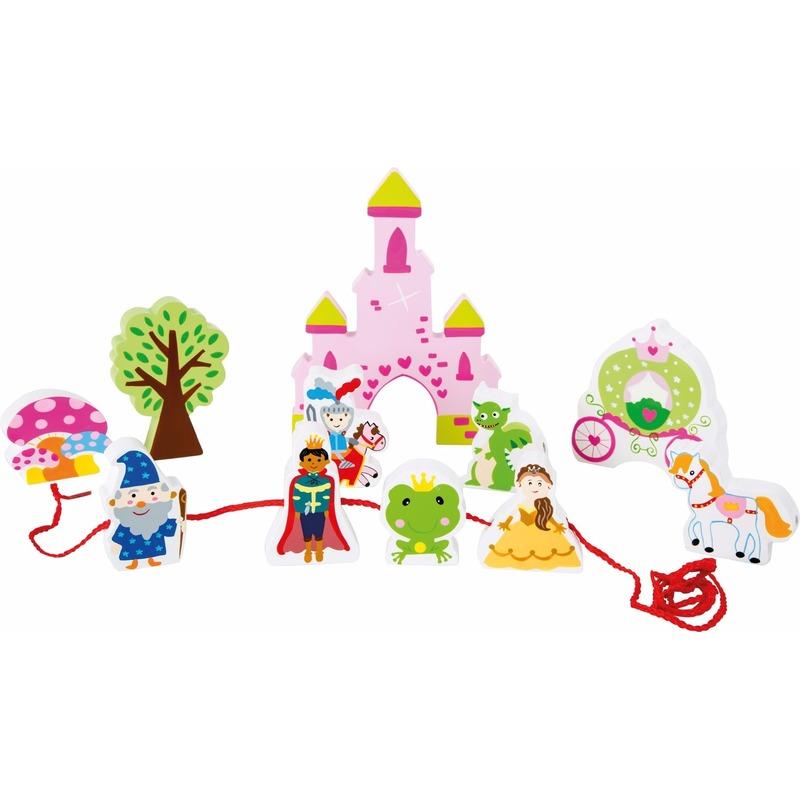 Houten sprookjeskasteel speelgoed set 12-delig