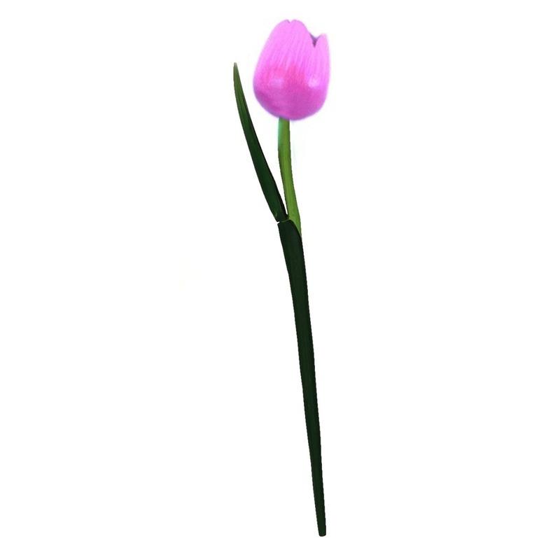 Houten tulp op steel roze 35 cm