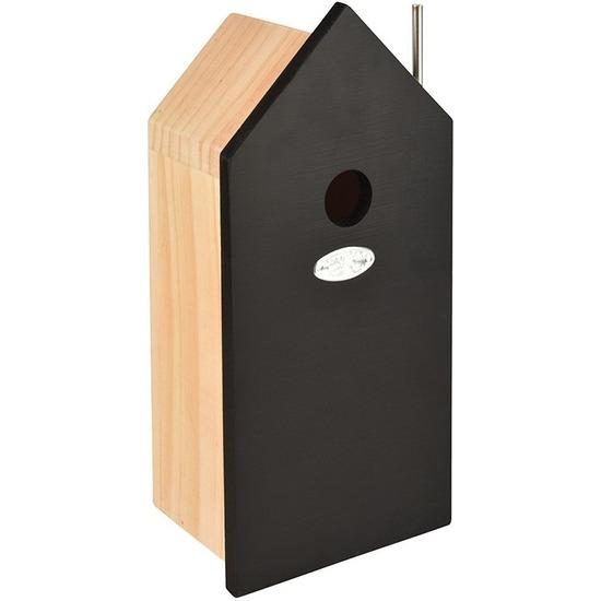 Houten vogelhuisje/nestkastje zwart 32 cm