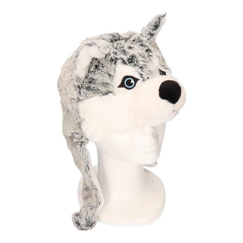 Husky hond - wolf muts met flappen voor kinderen