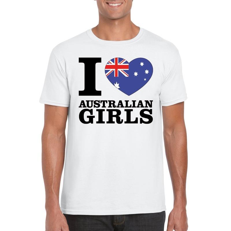 I love Australian girls t-shirt wit heren