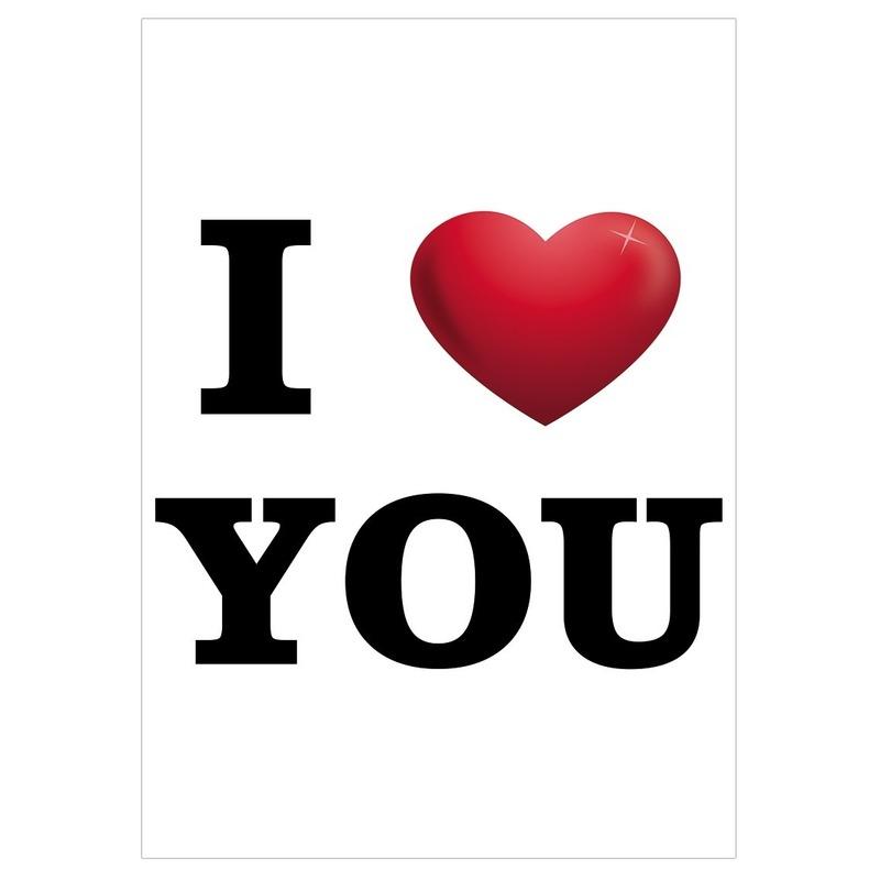 I Love You mega deurposter A1 59 x 84 cm