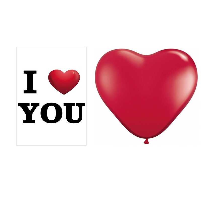 I Love You mega deurposter met 25 stuks hartjes ballonnen rood