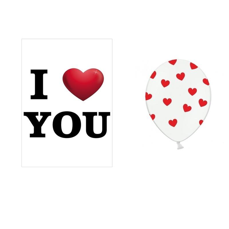 I Love You mega deurposter met 6x witte ballonnen rode hartjes
