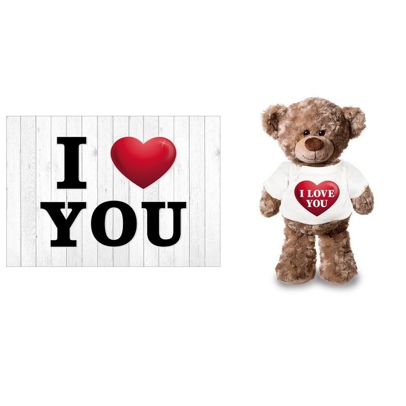 I Love You Valentijnskaart met I love you knuffelbeertje