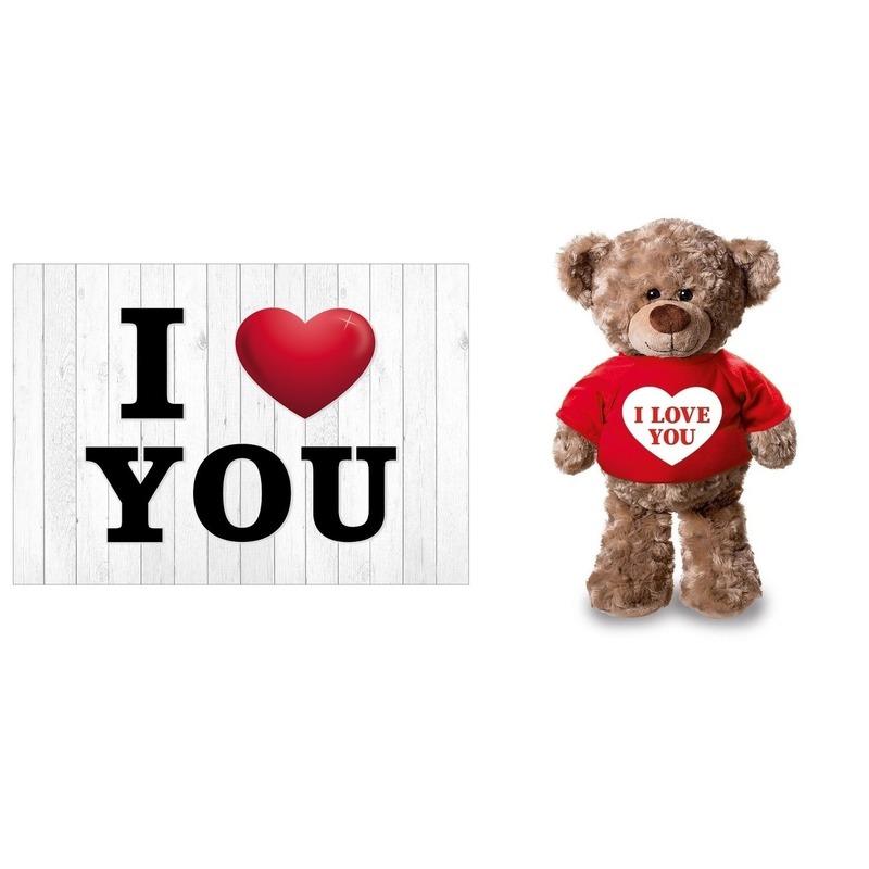 I Love You Valentijnskaart met knuffelbeer in rood shirtje 24 cm
