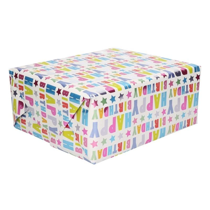 Inpakpapier/cadeaupapier Happy Birthday 150 x 70 cm op rol