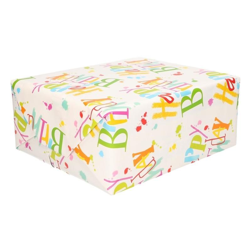 Inpakpapier/cadeaupapier Happy Birthday 200 x 70 cm op rol