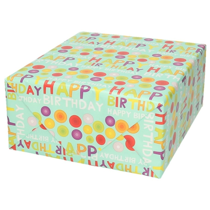 Inpakpapier/cadeaupapier happy birthday design 200 x 70 cm