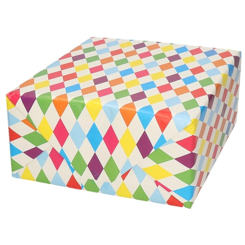 Inpakpapier/cadeaupapier ruitjes design 200 x 70 cm op rol
