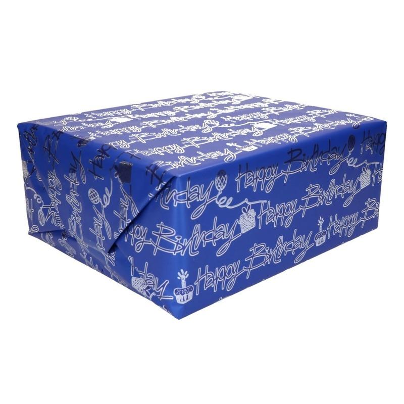 Inpakpapier holografisch blauw tekst happy birthday 200 x 70 cm