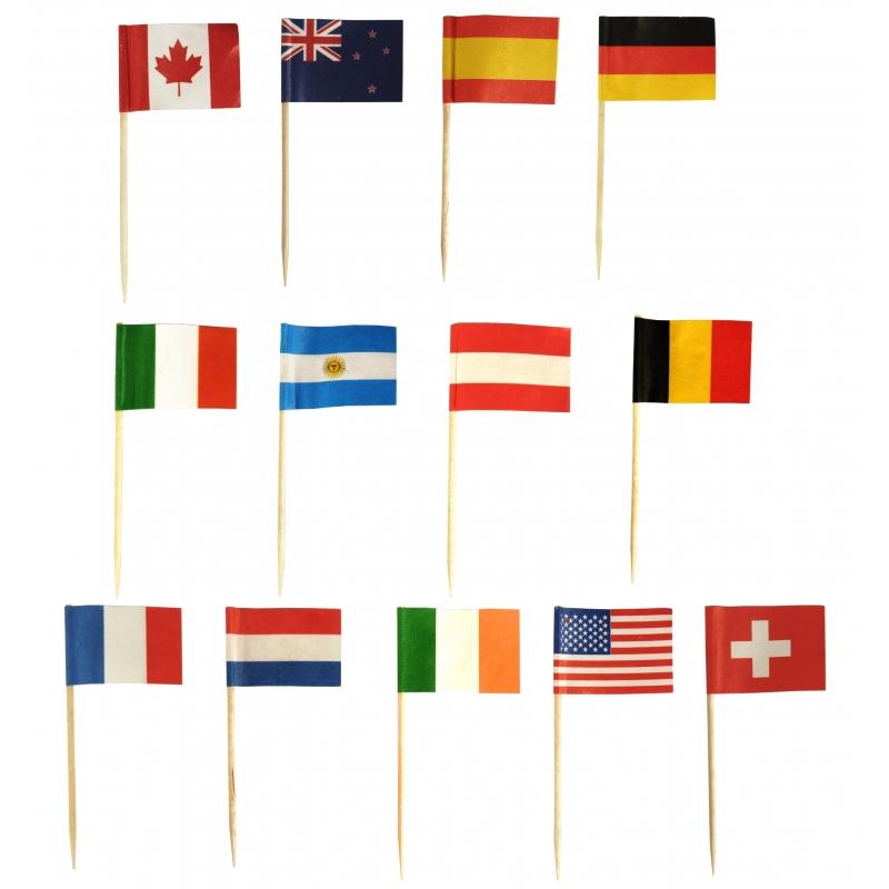 Internationale vlaggetjes prikkers 1000 stuks