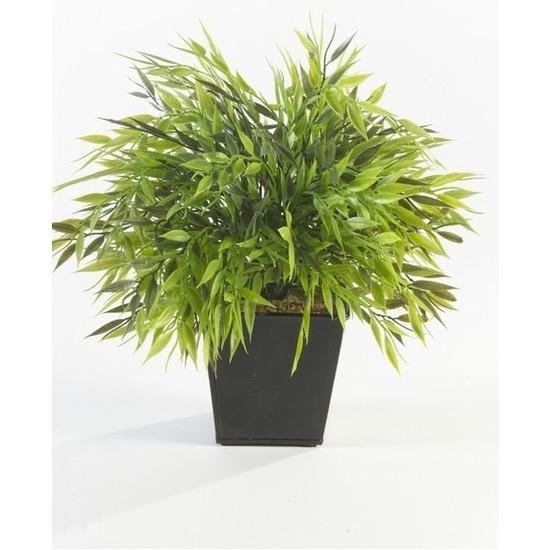 Kantoor kunstplant bamboe mix groen in pot 25 cm
