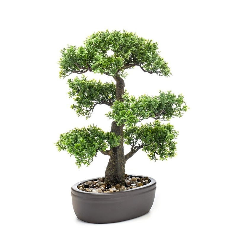 Kantoor kunstplant Bonsai boom in bruine pot 43 cm