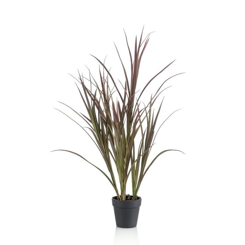 Kantoor kunstplant hoog gras groen in zwarte ronde pot 90 cm