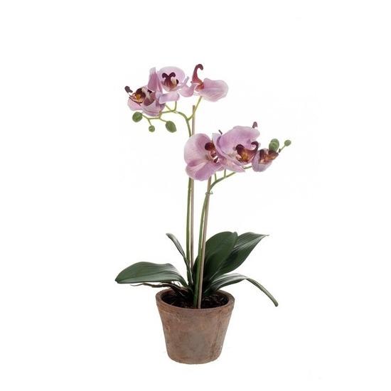 Kantoor kunstplant Orchidee paars 42 cm in pot