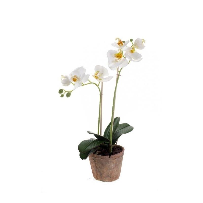 Kantoor kunstplant Orchidee wit 42 cm in pot