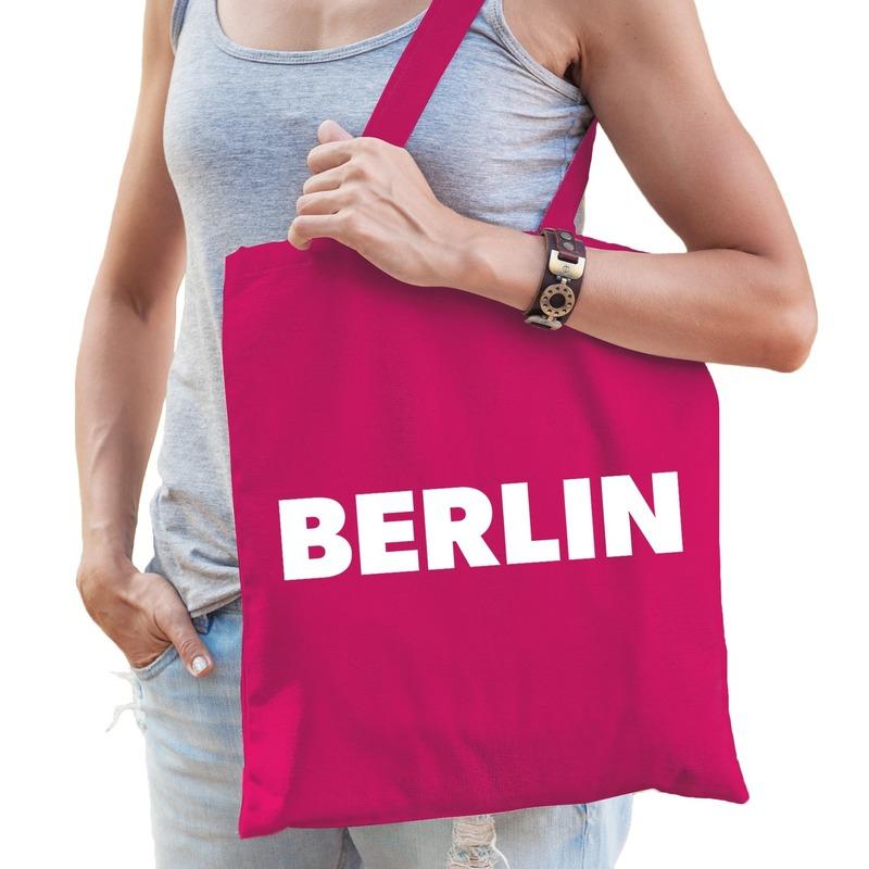 Katoenen Berlijn/wereldstad tasje Berlin roze