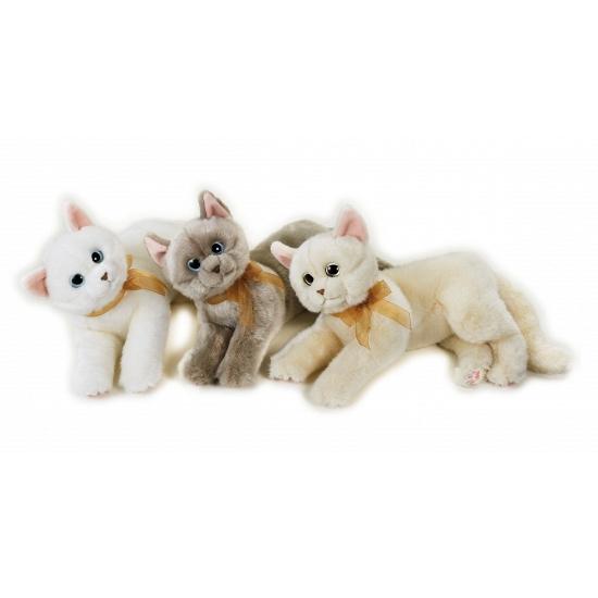Katten Knuffel Liggend Grijs 34 Cm