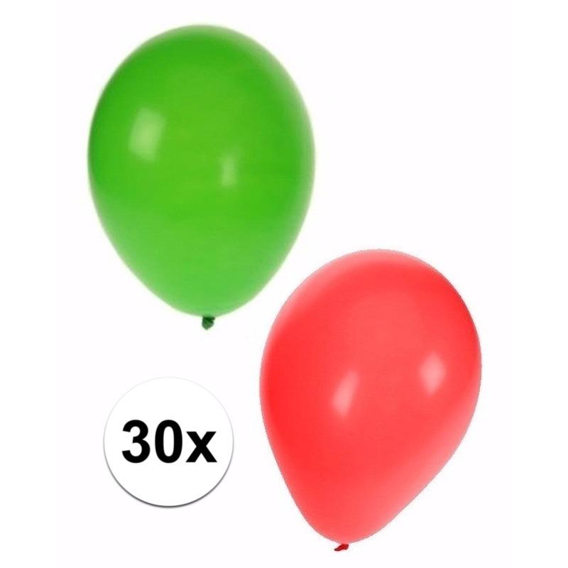 Kerst ballonnen 30 stuks groen/rood