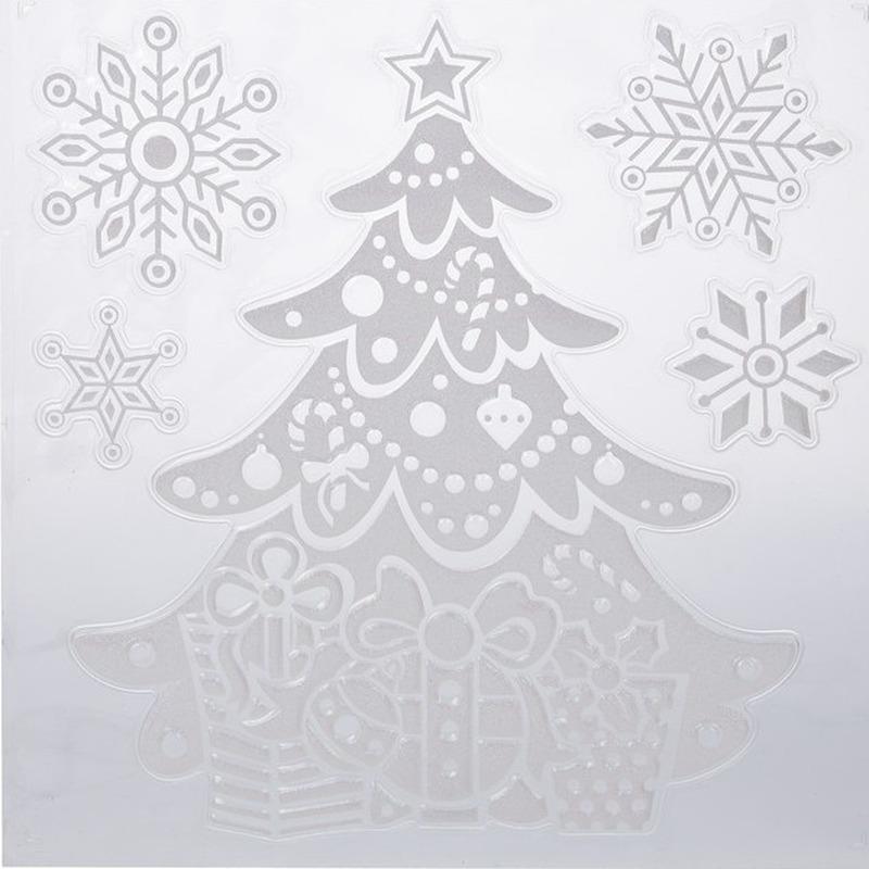 Kerst raamstickers-raamdecoratie kerstboom-sneeuwvlok 31 x 39 cm