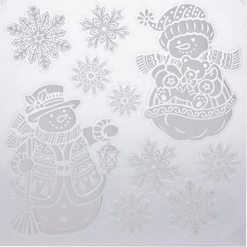 Kerst raamstickers-raamdecoratie sneeuwpop-sneeuwvlok 31 x 39 cm