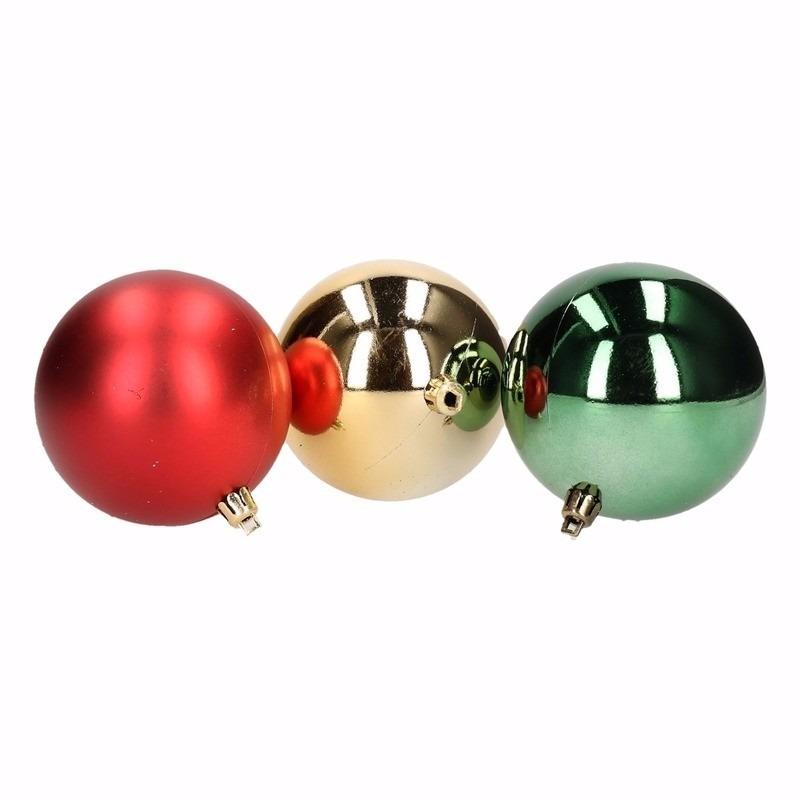 Kerst rood-groene kerstballen mix Traditional Christmas 12 stuks