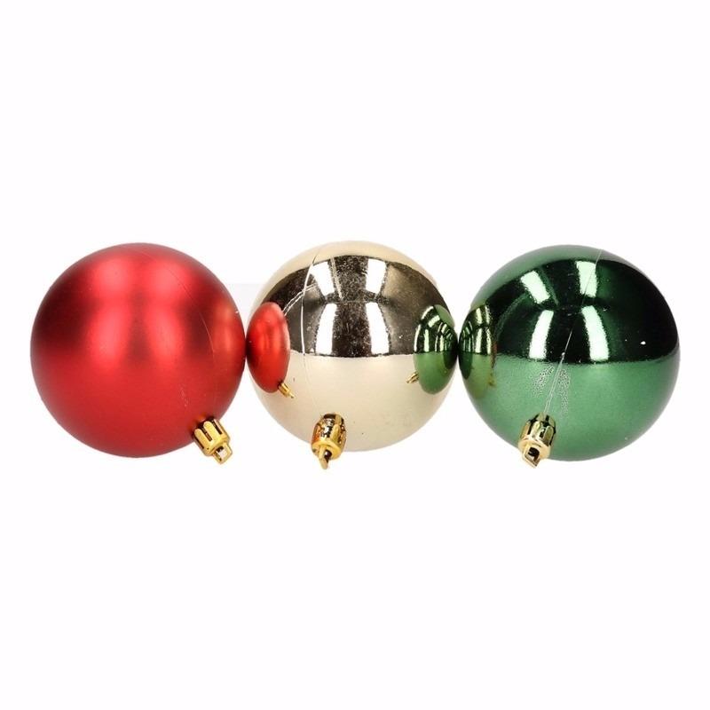 Kerst rood-groene kerstballen mix Traditional Christmas 6 stuks