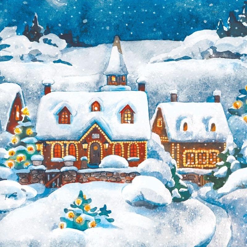 Kerst servetten sneeuw landschap thema