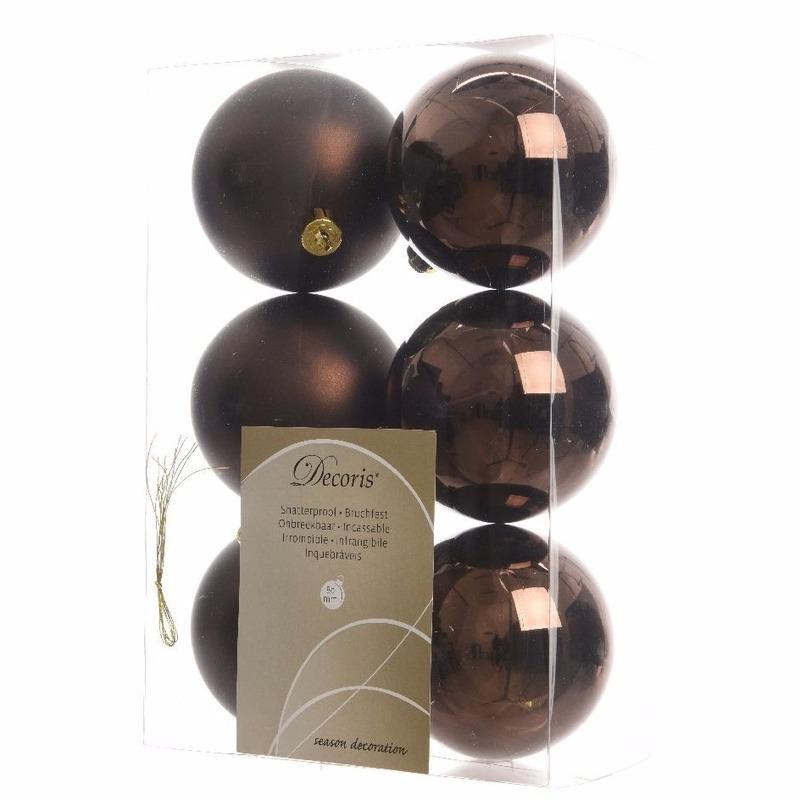 Kerstboom decoratie kerstballen mix bruin 6 stuks