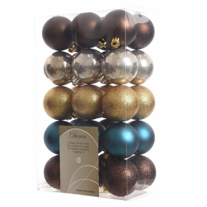 Kerstboom decoratie kerstballen mix bruin-goud 30 stuks