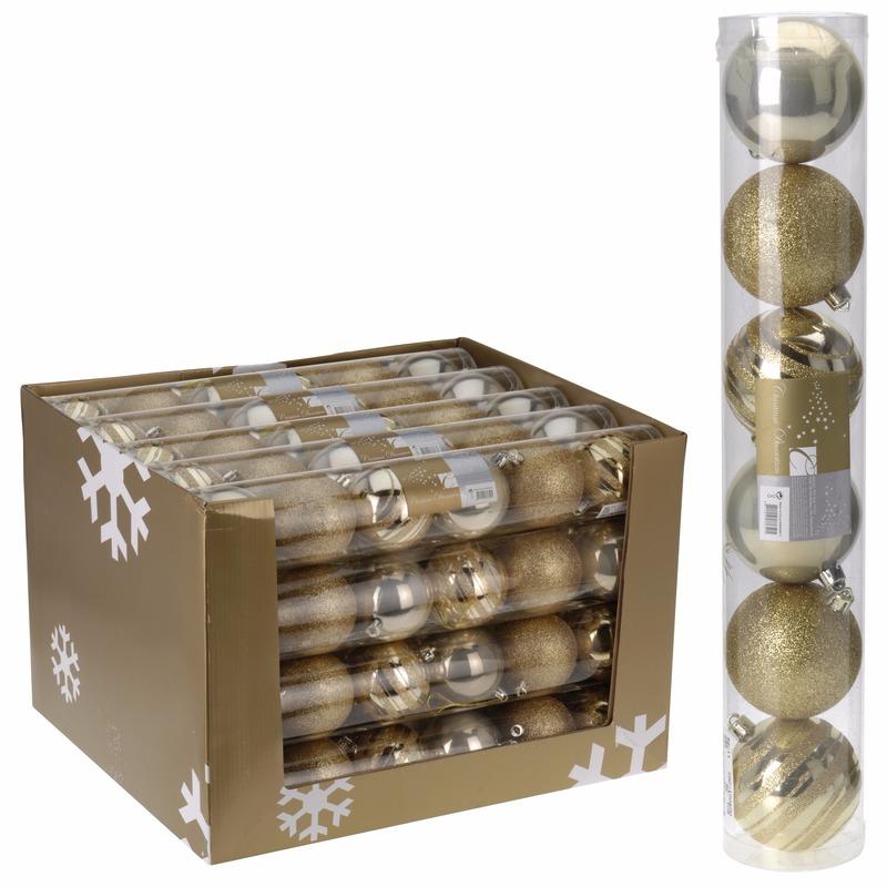 Kerstboom decoratie kerstballen mix goud 6 stuks