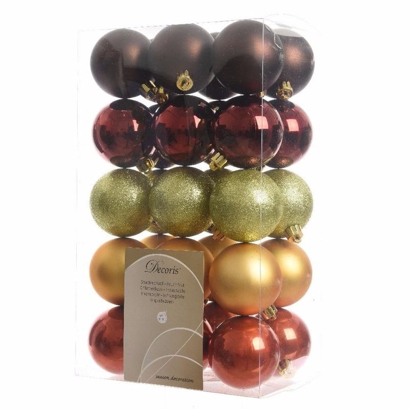 Kerstboom decoratie kerstballen mix rood-bruin 30 stuks