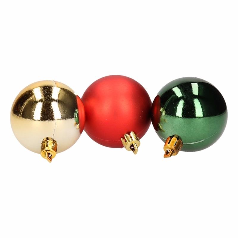 Kerstboom decoratie kerstballen mix rood-groen 12 stuks