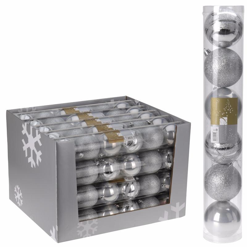 Kerstboom decoratie kerstballen mix zilver 6 stuks