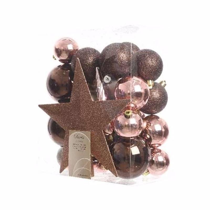 Kerstboom decoratie kerstballen set bruin-roze 33 stuks