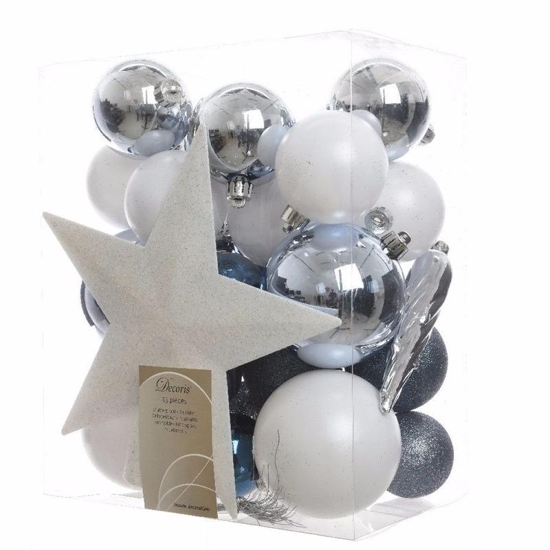 Kerstboom decoratie kerstballen set wit-blauw 33 stuks