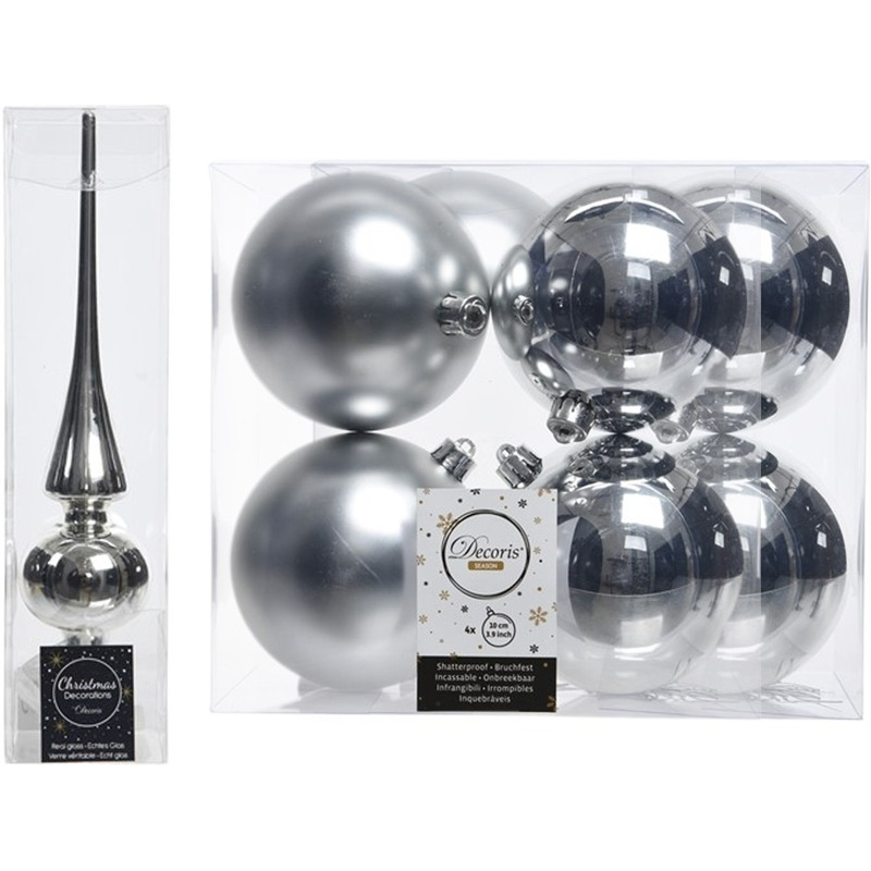 Kerstboom decoratie zilver piek en 8x kerstballen 10 cm
