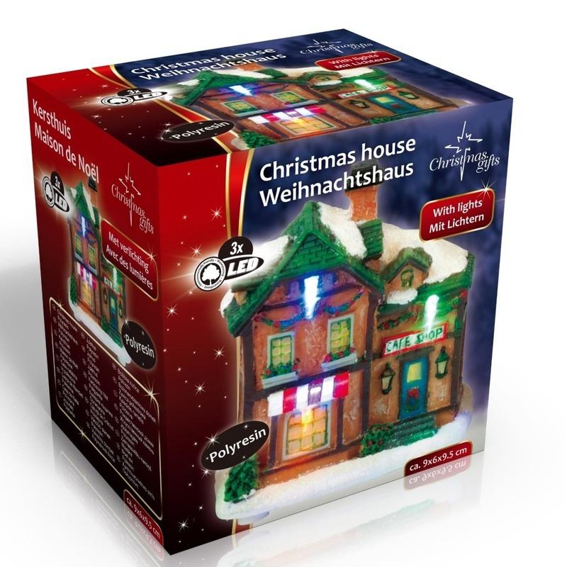 Kersthuisje cafe LED kerst decoratie 9 x 6 x 9 cm
