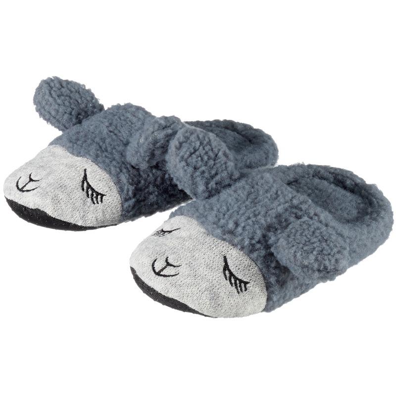 Kinder dieren pantoffels/sloffen lama/alpaca grijs slippers