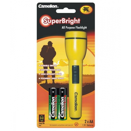 Kinder zaklamp Superbright geel 15 cm