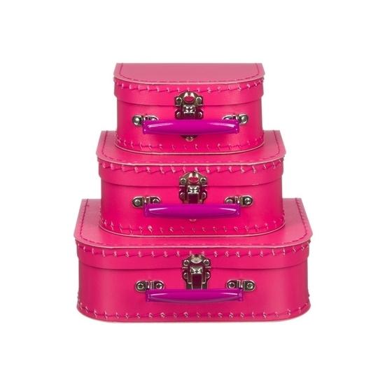 Kinderkoffertje fuchsia roze 25 cm