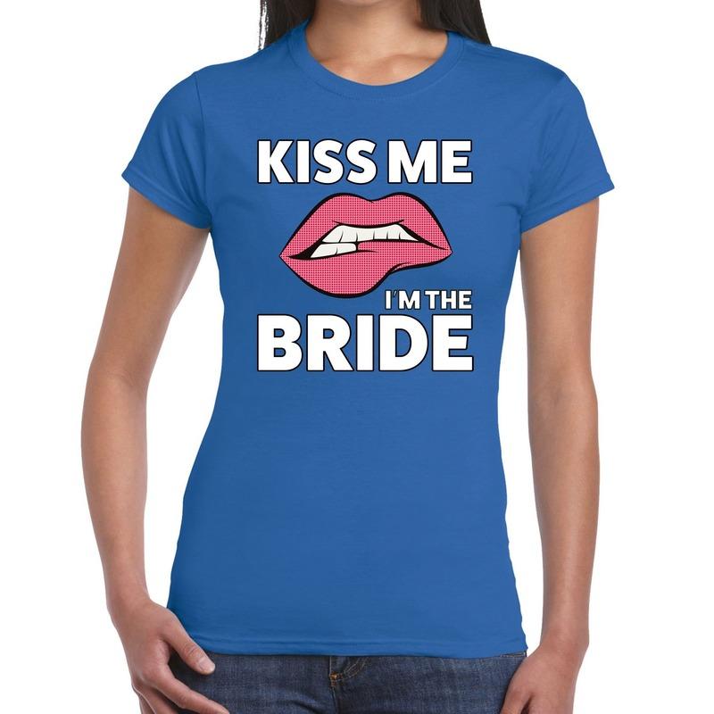 Kiss me I am The Bride t-shirt blauw dames