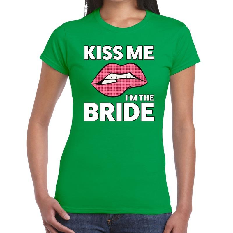 Kiss me i am the bride t-shirt groen dames